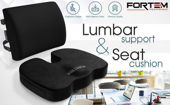 FORTEM Office Chair Lumbar Support Pillow, Back Cushion, Memory Foam, Washable - [www.theislanddealsnow.com]