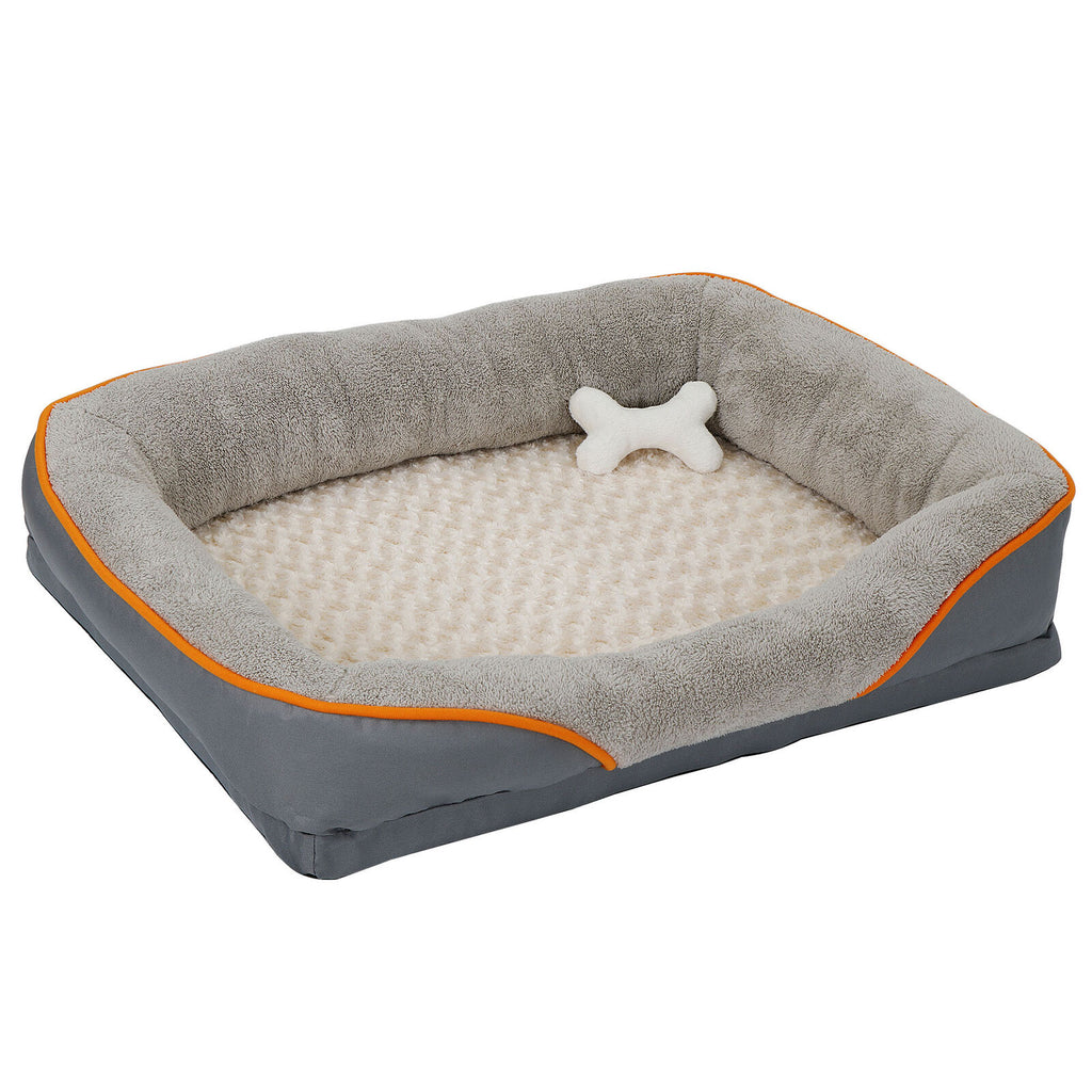 Dog Bed Memory Foam Pet Bed with Removable Washable Cover and Squeaker Toy - [www.theislanddealsnow.com]