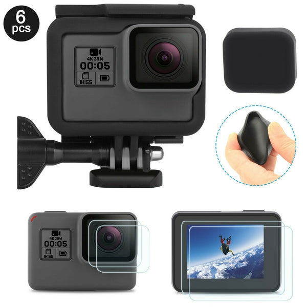 Frame Mount Housing Case+Screen Lens Film+Cap for GoPro Hero 7/6/5/Hero 2018 6PC - [www.theislanddealsnow.com]