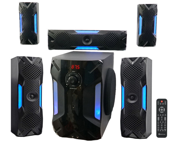 "Home Theater System 5.1 Channel Bluetooth USB+8"" Subwoofer 5 Speakers, Receiver, Wiring, Remote - [www.theislanddealsnow.com]"