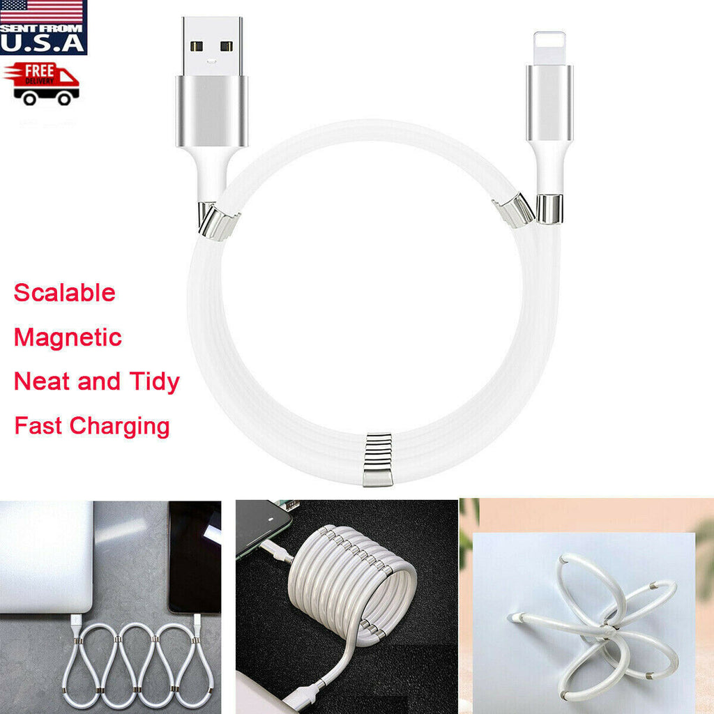 Magnetic Lightning USB Charging Charger Cable iPhone 11 Pro XS Max X 8 7 6 Plus - [www.theislanddealsnow.com]