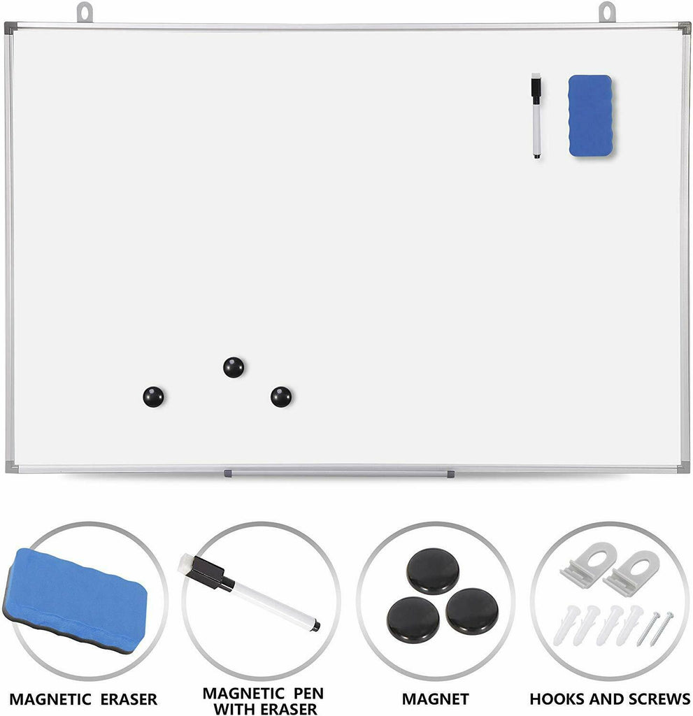 Magnetic Whiteboard 36 x 24 inch Dry Erase White Board Wall Hanging Board - [www.theislanddealsnow.com]