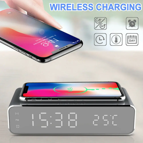 Electric LED 12/24H Alarm Clock With Phone Wireless Charger - [www.theislanddealsnow.com]