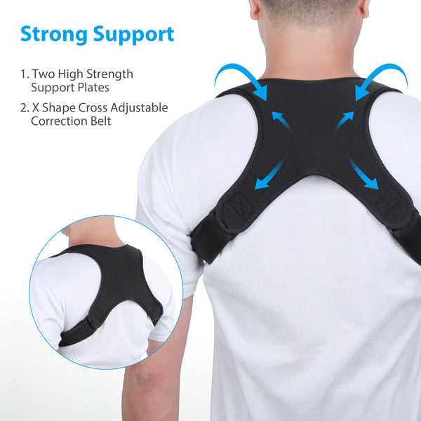 Posture Corrector Back Shoulder Straight Adjustable Support Brace Belt Men Women - [www.theislanddealsnow.com]