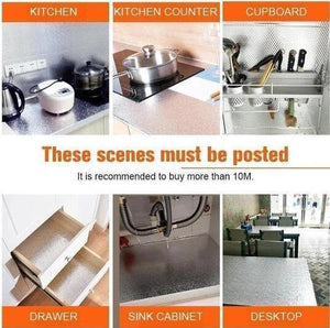 2PCS Aluminum Foil Kitchen Stickers Self Adhesive Oil Proof Stove Cabinet Stickers