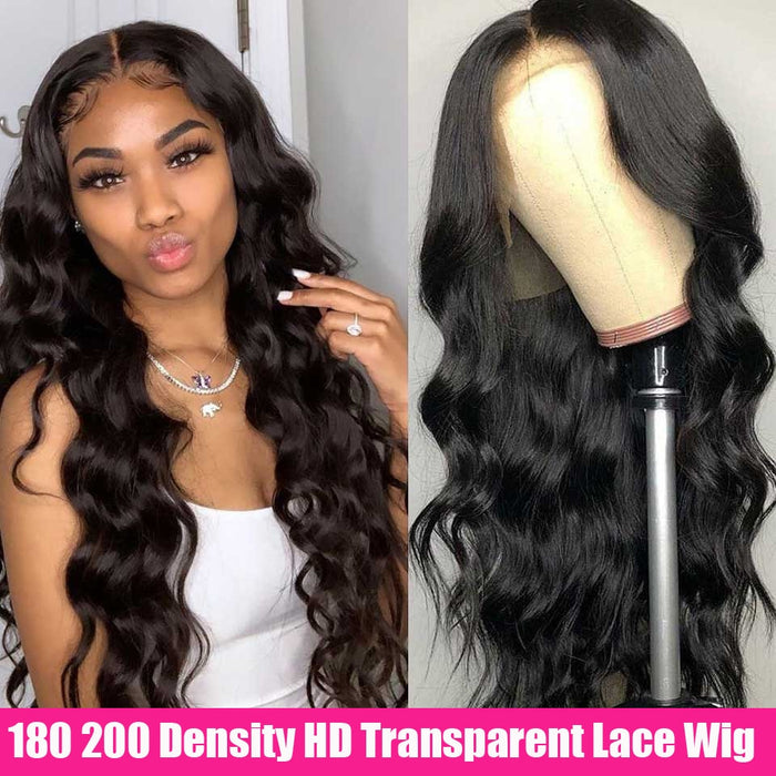 Cheap HD Transparent Lace Frontal Wigs Body Wave Wig 180 200 Density 26 Inch Wavy Lace Front Human Hair Wigs Brazilian Hair Wigs