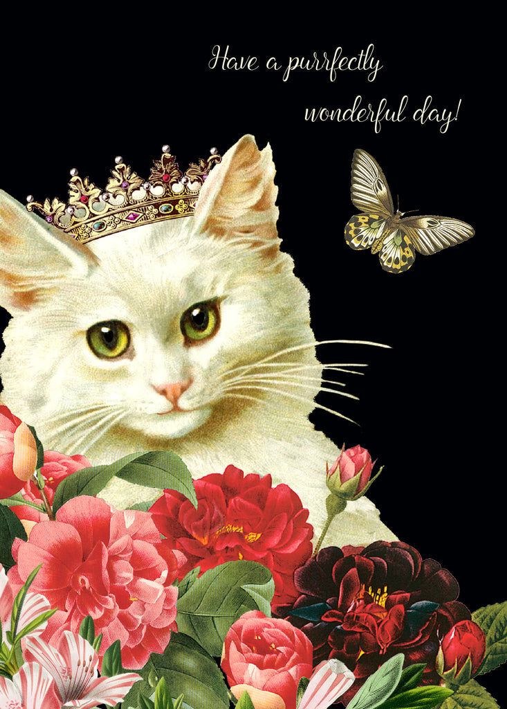 Have a purrfectly wonderful day • 5x7 Matte Black Greeting Card
