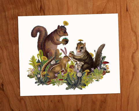 "Squirrel with Nuts 8""x 10"" • Archival Prints"