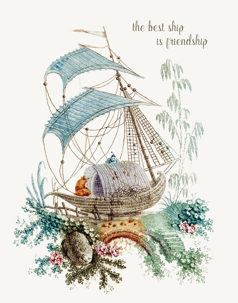 Chinoiserie - The best ship is friendship • A-2 Greeting Card