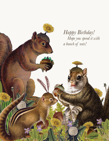 Happy Birthday with nuts • A-2 Greeting Card