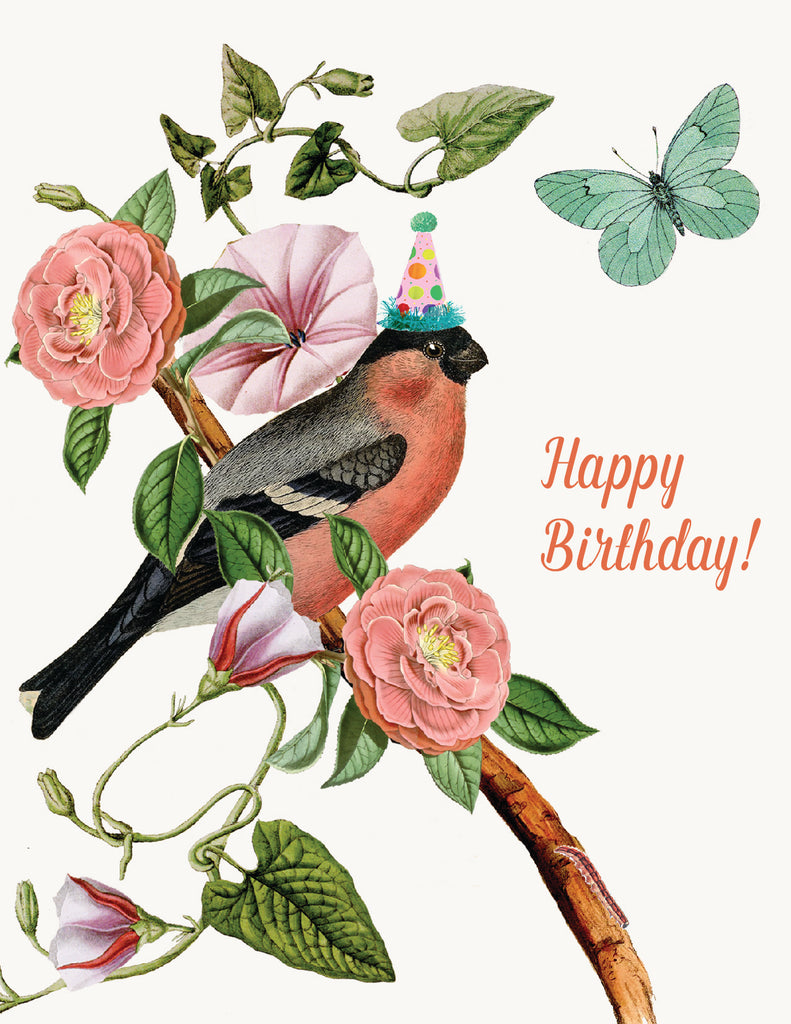 Happy Birthday pink bird  • A-2 Greeting Card