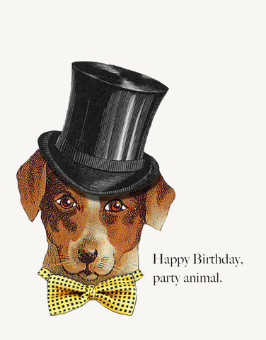 Party Animal Dog A-2 Greeting Card