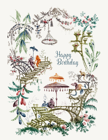 Chinoiserie - Happy Birthday • A-2 Greeting Card