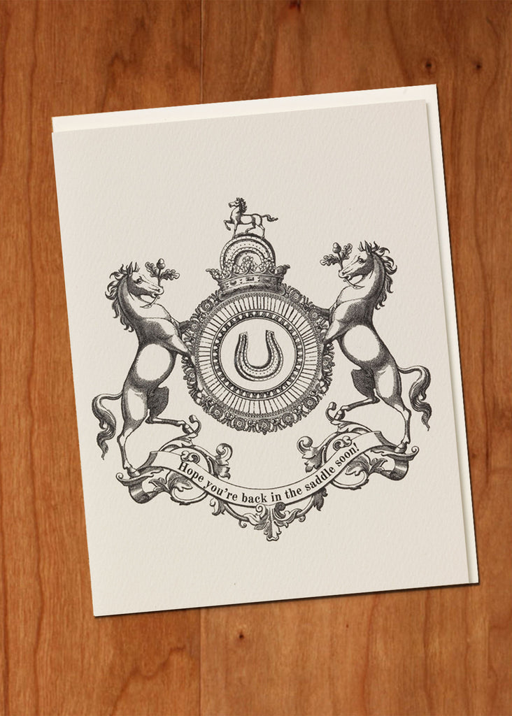 Hope You're Back in the Saddle Soon! • Heraldic Greeting Card