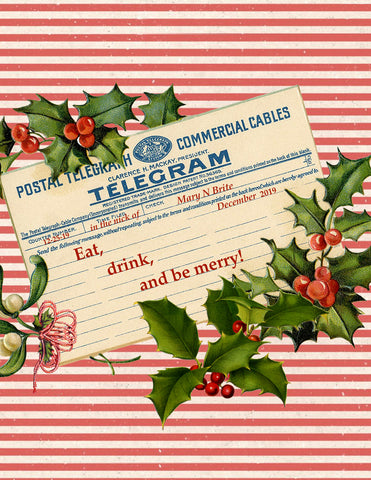 Eat, Drink and Be Merry • A-2 Holiday Greeting Card