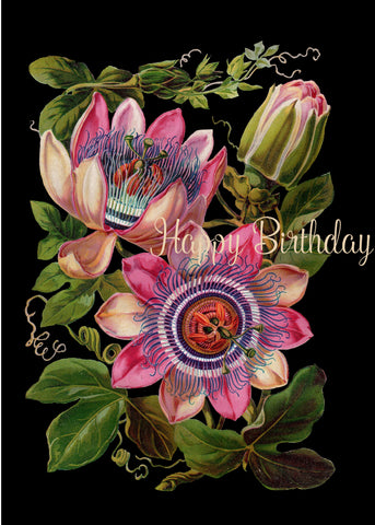 Happy birthday (passionflower) • 5x7 Greeting Card