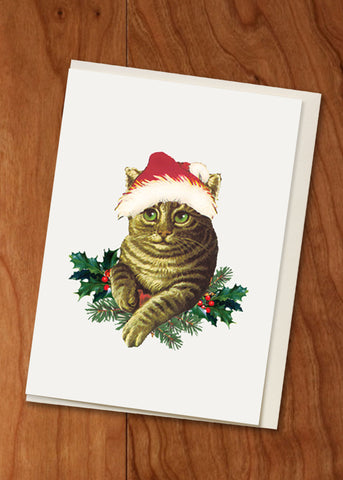Holiday Cat • Holiday Hand Glittered Mini Card