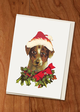 Holiday Dog • Holiday Hand Glittered Mini Card