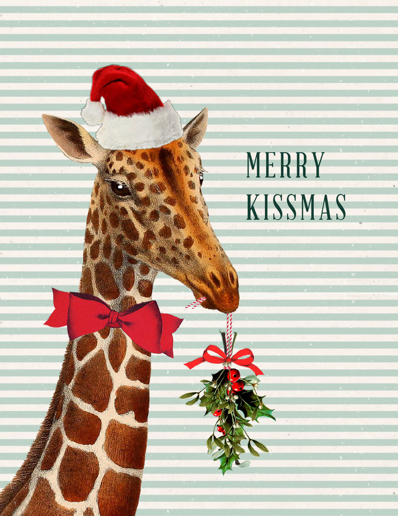 Merry Kissmas giraffe • A-2 Holiday Greeting Card