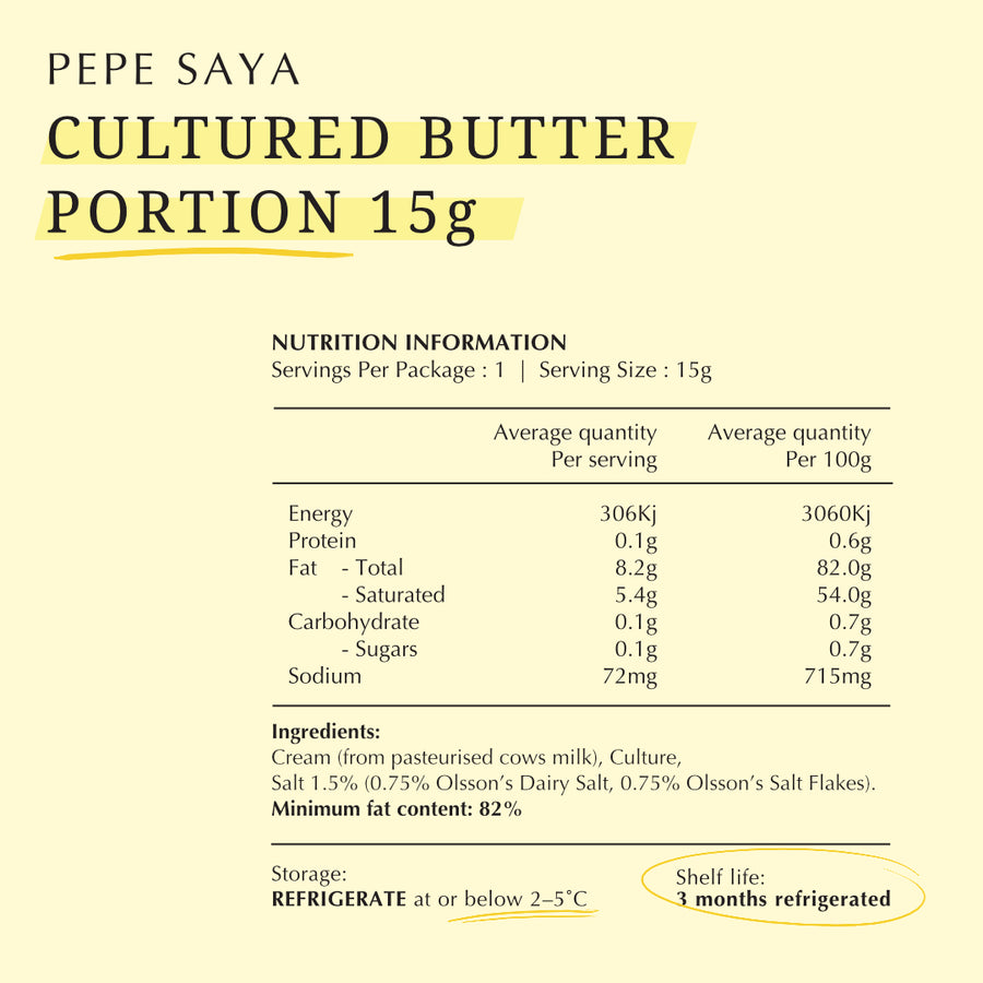 Pepe Saya Cultured Single Butter Portion 15g
