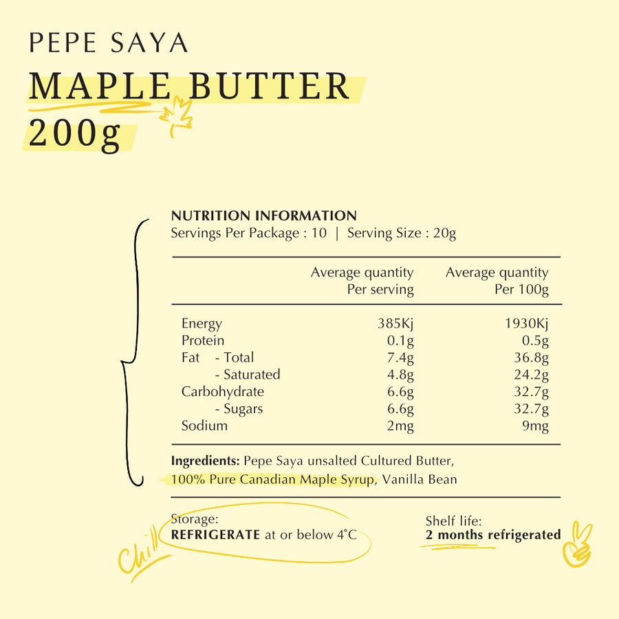 Pepe Saya Maple Butter 200g