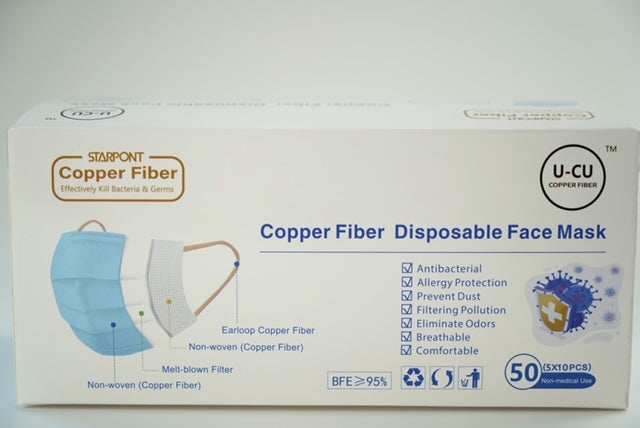 Copper Fiber Disposable Face Masks Light Blue Color 50 PCS/ Box