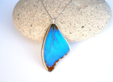 Load image into Gallery viewer, Recycled Butterfly Wing Necklace - Blue Morpho - Butterfly Gift, Nature Theme Jewelry