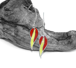 Sterling Leaf Finding with Red and Yellow Butterfly Wing Inlay