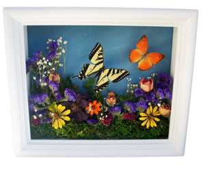 8x10 Flower Shadow Box with Yellow Tiger and Orange