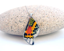 Load image into Gallery viewer, Recycled Butterfly Wing Necklace - Rainbow Sunset Moth - Butterfly Gift, Nature Theme Jewelry