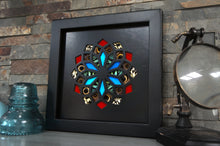 Load image into Gallery viewer, 8x8 Real Butterfly Wing Pattern in Kaleidoscope Window- Blue Morpho, owl eyes, red, white wings on black