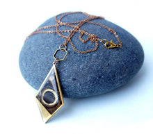 Load image into Gallery viewer, Extra Long Chain Butterfly Wing Brass Kite Necklace - Owl Eye