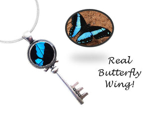 Real Butterfly Wing Skeleton Key Necklace Pendant - Papilio Bromius