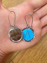 Load image into Gallery viewer, Pendant Butterfly Wing Earrings - Blue Morpho Circle