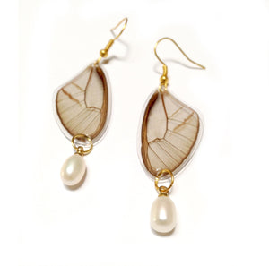 Real Butterfly Wing Pearl Earrings - Blushing  Phantom