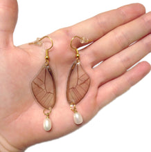 Load image into Gallery viewer, Real Butterfly Wing Pearl Earrings - Blushing  Phantom
