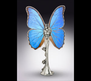 Real Butterfly Fairy Statue - Blue Morpho