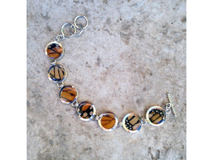 Monarch Butterfly Wing Sterling Silver Bracelet