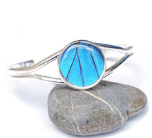 Load image into Gallery viewer, Silver Butterfly Wing Bracelet Cuff - Blue Morpho Silver Accessory