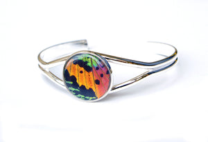 Silver Butterfly Wing Bracelet Cuff - Rainbow Sunset Moth Silver Accessory