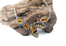 Load image into Gallery viewer, Real Butterfly Wing Sterling Silver Marquis Necklace - Monarch - Anniversary, Gift, Special Occasion