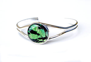 Silver Butterfly Wing Bracelet Cuff - Green Sunset Moth Silver Accessory
