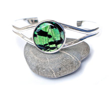 Load image into Gallery viewer, Silver Butterfly Wing Bracelet Cuff - Green Sunset Moth Silver Accessory