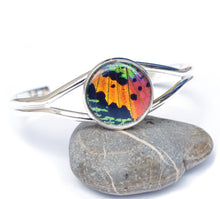 Load image into Gallery viewer, Silver Butterfly Wing Bracelet Cuff - Rainbow Sunset Moth Silver Accessory