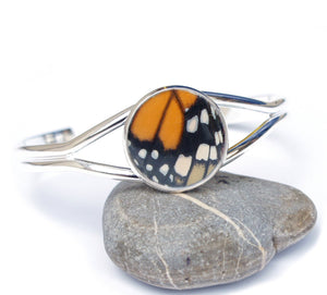 Silver Monarch Butterfly Wing Bracelet Cuff