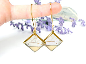 Real Butterfly Wing Dangle Earrings - Blushing Phantom Clearwing