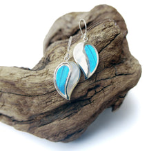 Load image into Gallery viewer, Real Blue Butterfly Wing Earrings with Pearl Shell in Sterling Silver