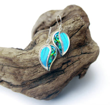 Load image into Gallery viewer, Real Blue Morpho Butterfly Wing Earrings with Abalone Shell in Sterling Silver