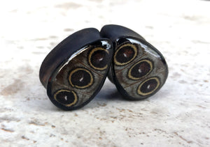 "Real Owl Eye Butterfly Wing Teardrop Plugs 1/2""-1 1/2"" - Body Jewelry, Gauges, Teardrop Plugs"