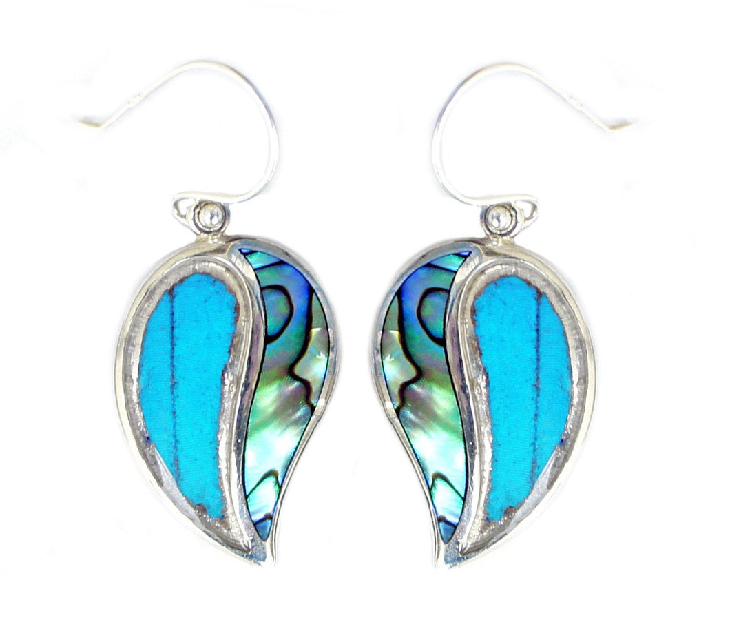 Real Blue Morpho Butterfly Wing Earrings with Abalone Shell in Sterling Silver